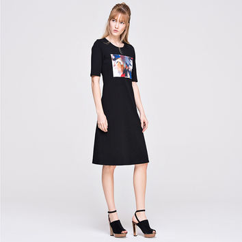 Abstract Art Print Short Sleeve A-Line Mid Dress