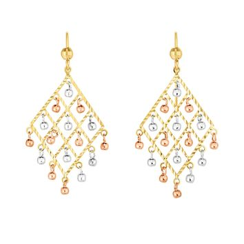 14K Tri-color Gold Chandelier With Dangle Beads Earrings