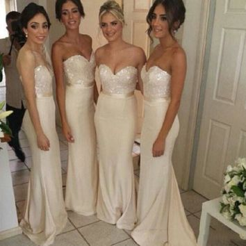 2016 New Hot Sale Sexy Bridesmaid Dresses Mermaid/Trumpet Sweetheart Zipper Sequins Stretch Satin Sash Champagne High Quality