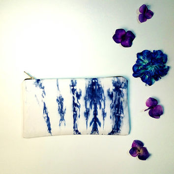 Shibori Pouch Clutch Purse handmade handbag womens purses accessories summer indigo tie dye