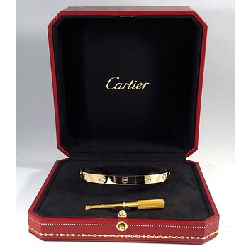 Authentic CARTIER LOVE 18K Y/G BANGLE size 18 w/ Papers - B3581
