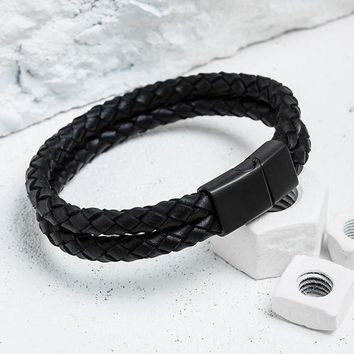 Mcllroy Genuine Leather Bracelet Men Stainless Steel Leather Braid Bracelet With Magnetic Buckle Clasp pulseiras masculina
