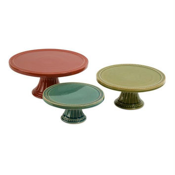 """3 Cake Plates - 3.75 """" H X 8.5 """"  Dia. Small Plate"""