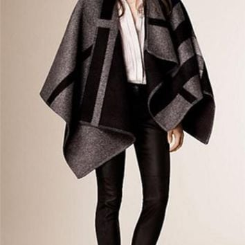 No Restraint Grey Black Wool Color Block Poncho Cape Coat Wrap