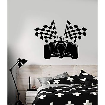 Vinyl Wall Decal Auto Racing Formula 1 Car Racing Flags Stickers (2541ig)