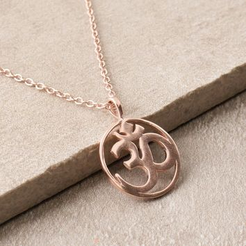 Blissful Om Necklace - Rose Gold