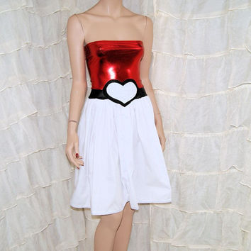 PokeBall Heart Strapless Metallic Foil Summer Sun Dress Cosplay Costume Adult Small MTCoffinz - Ready to Ship