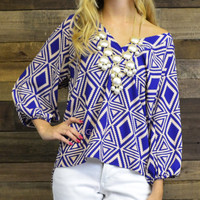 Static Coast Geometric Royal Blue V Neck Top