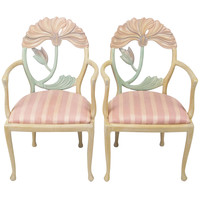 Pair Italian Polychrome Carved Poppy Armchairs