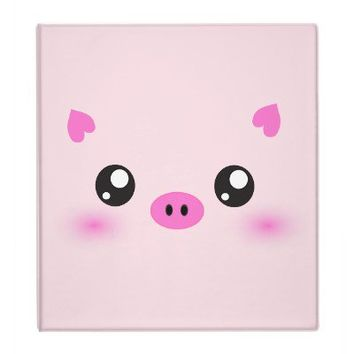 Cute Pig Face - kawaii minimalism 3 Ring Binder from Zazzle.com