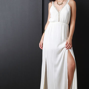 Eyelet Trim V Neckline Maxi Dress