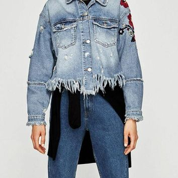 C| Chicloth Women Floral Embroidery Ripped Fringe Casual Denim Jacket