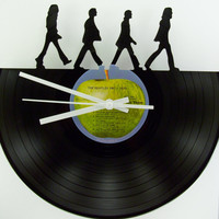 Recycled Vinyl Record BEATLES Wall Clock - Clock Kit Included