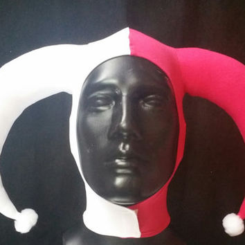 READY TO SHIP Version 1: Harley Quinn Inspired White and Dark Pink Stretch Jester Hat One Size