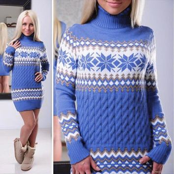 Sweater Long Sleeve Print Women's Fashion Pullover Knit Tops One Piece Dress [11275922503]