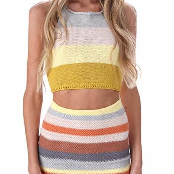 Stripe Knit Matching Set