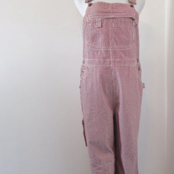 Engineer Striped Overalls Red and White Denim Bib Overalls Womens Medium Dungarees Work Clothes Carpenter Painter Pants