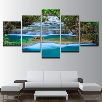 5 Pieces Landscape River Waterfall Trees Creek Mountain Stream Canvas Print