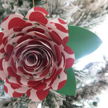 School Teacher Gift Idea, Red Apple Print Paper Flower Ornament, Hanging Floral Rose Decoration
