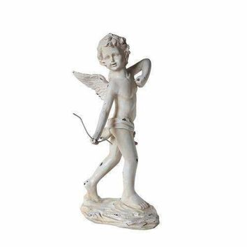 "24"" Distressed Ivory Cherub Angel with Bow Outdoor Patio Garden Statue"