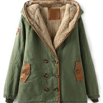 ROMWE | ROMWE Double-breasted Panel Faux Leather Hooded Army-green Coat, The Latest Street Fashion