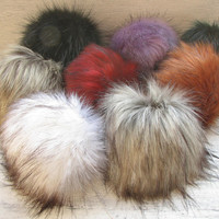 8 set of pompoms Vegan Faux  Fur Pom Poms Extra long fur.Extra Large Detachable pom pom  Mix Color, Handmade