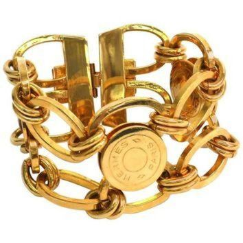 ESBYD9 Hermes Gold Sellier 'HERMES PARIS' Medallion Coin Chain Link Cuff Charm Bracelet