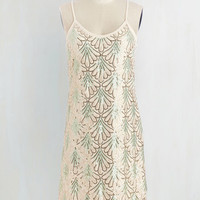 Vintage Inspired Mid-length Spaghetti Straps Shift Come on, Let's Deco! Dress