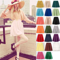 Retro Double Chiffon High Waist Short Pleated Mini Skirt Dress Candy 22 Colors
