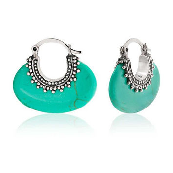 Bling Jewelry Sterling Silver Bali Style Synthetic Turquoise Hoop Earrings