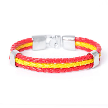 2017 New Fashion  Braided Surfer Bandage National Spain Flag Leather Bracelets Trendy Sporty Friendship Bracelets For Men Women.
