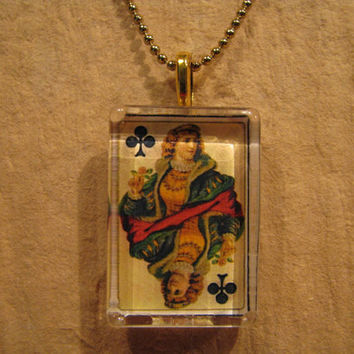 """Antique Playing Card Queen of Clubs Rectangle Glass Pendant with 24"""" Ball Chain Necklace"""
