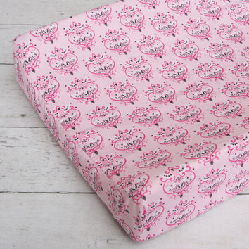 Ashlyn Damask Baby Bedding | Pink and Gray Changing Pad Cover