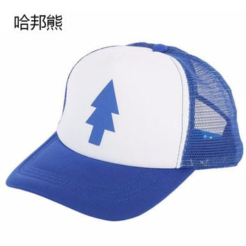 HABANGXIONG Unisex Women Men Curved Bill BLUE PINE TREE Dipper Gravity Falls Cartoon Mesh Hat Casual Cap Trucker Baseball Caps