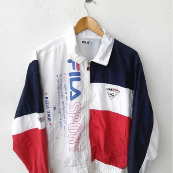 HOT SALE Vintage 1990's FILA Italia Big Logo Black White Hip Hop Fashion Streetwear Zipper Nylon Jacket