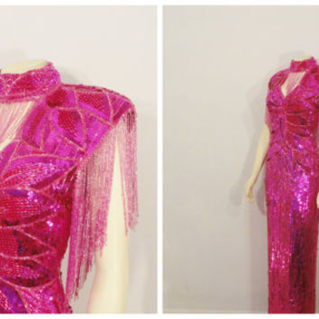 Vintage Dress Great Gatsby 20s Style Art Deco Hot Pink Sequins on Pure Silk Made in India 80s does 20s Size Medium
