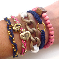 Navy and Pink Elephantastic Arm Candy Set