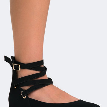 STRAPPY ANKLE BALLET FLAT