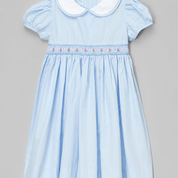 Fantaisie Kids Blue Peter Pan Smocked Dress - Infant & Toddler | zulily