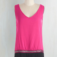 Colorblocking Mid-length Sleeveless Pop of Colorful Top in Fuchsia by ModCloth