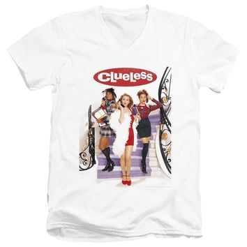 Clueless Slim Fit V-Neck T-Shirt Movie Poster White Tee