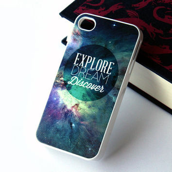 iPhone 5 4 Space Case - Explore Dream Discover - Samsung Galaxy s3, ipod touch Stars Universe Nebular Twain - 0025