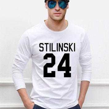 ONETOW Stilinski 24 Teen Wolf  men long sleeve t-shirt 2017 new autumn 100% cotton high quality slim fit hip hop style man top tees
