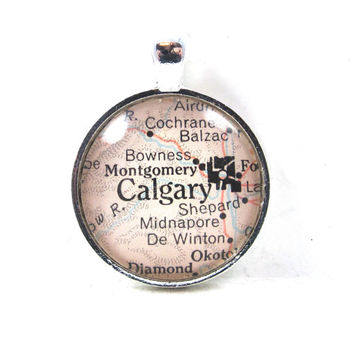 Calgary, Canada, Pendant from Vintage Map, in Glass Tile Circle