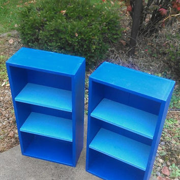 PAIR Of Two Toned BLUE Wood Book Shelf Bookcase Shelves Bath Hall Entry Kitchen Craft Display Storage 8wx16.25lx31h Custom Sizes Colors
