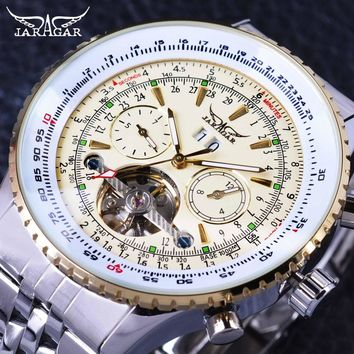 Jaragar GMT976 Aviator Series Military Scale Yellow Elegant Dial Tourbillon Mens Luxury Automatic Watch