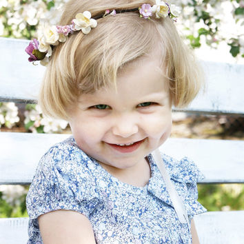 babies wreath, floral crown, lilac crown, flower girl headband, hair wreath, photo props, girls crown, lavender wreath, headpiece