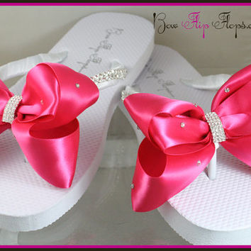 Bridal Flip Flops Wedge Rhinestone Emerald Cut Diamond Bling Satin Shocking Pink Jewel Bride Wedding Ribbon Bow Great for brides bridesmaids