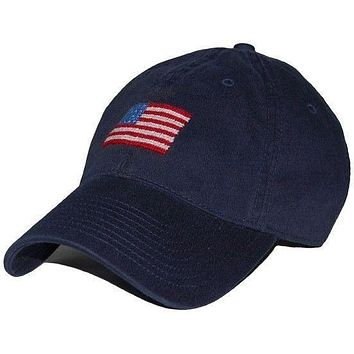 American Flag Needlepoint Hat in Navy by Smathers & Branson