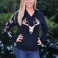 Black hoodie with Gold Glitter Buck head